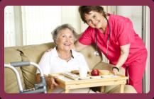 caregiver and woman seniors